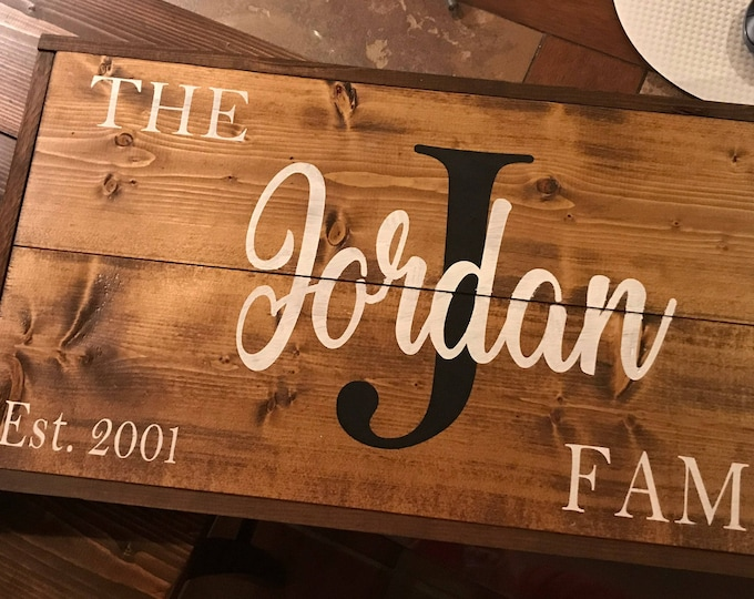 Last Name with Trim Wood Sign