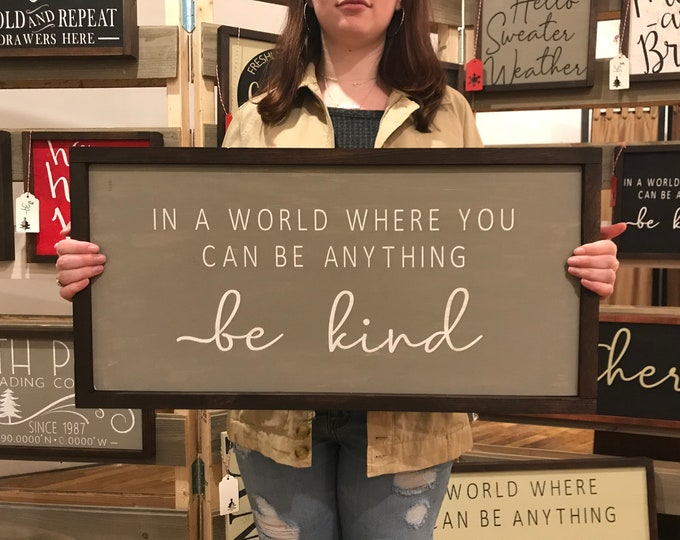 Featured listing image: Be Kind Chalkboard Paint Sign