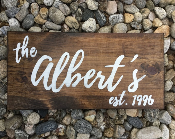 Last Name Distressed Wood Sign - Large