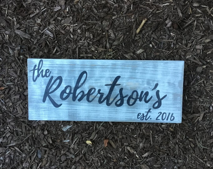 Last Name Distressed Wood Sign