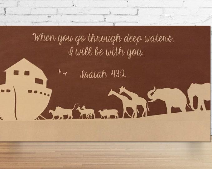Noah's Ark Wood Chalkboard Paint Sign