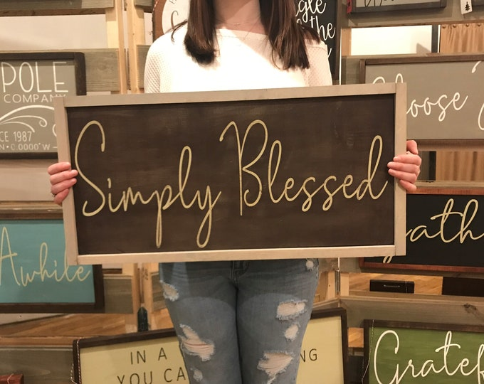 Simply Blessed Chalkboard Paint Sign