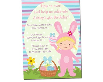 Easter invitation etsy girl easter bunny printable birthday party personalized invitations character of your choice 412 easter party invitations filmwisefo