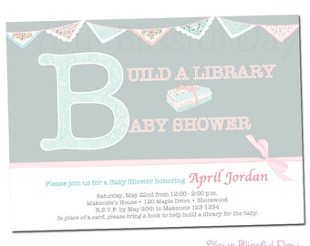 PRINTABLE Vintage Build a Library Baby Shower Invitations #211