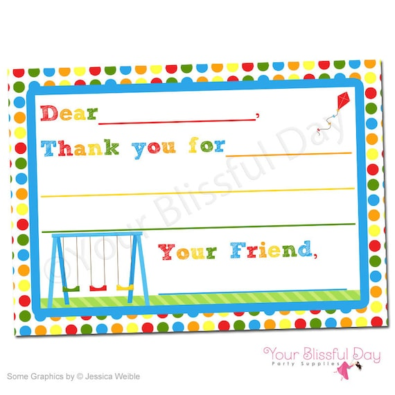 party in the park fill in the blank printable thank you cards 567