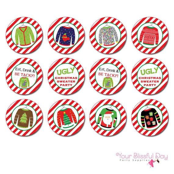 Ugly Christmas Sweater Cupcake Toppers