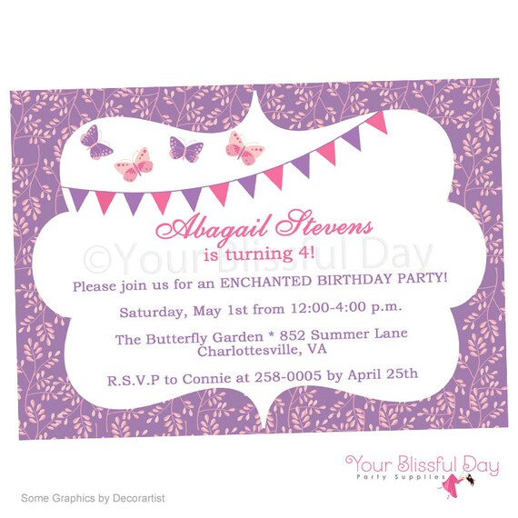 Enchanted Butterfly Printable Party Invitation 526