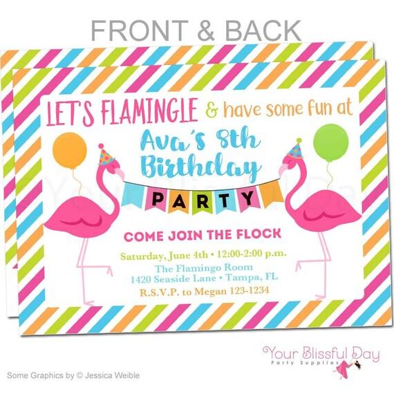 flamingle flamingo birthday party printable invitations 5005