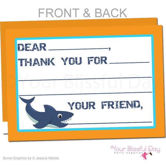 shark party fill in the blank thank you cards shark thank you