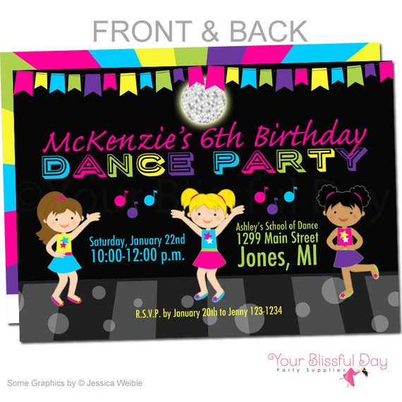 girl dance party invitations girl dance birthday invitation etsy