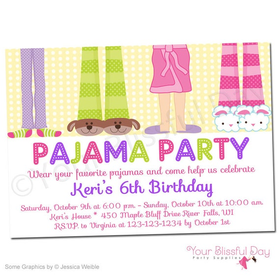 girl pajama party printable invitations 563 personalized etsy