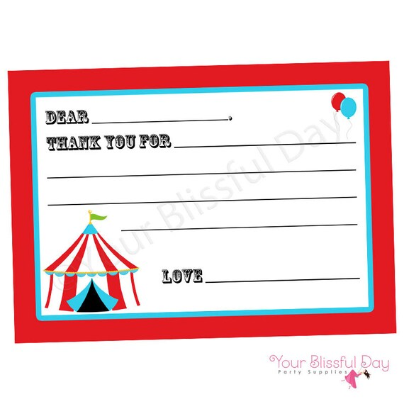 circus and carnival fill in the blank printable thank you cards 517