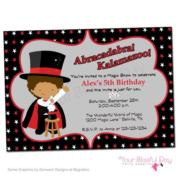 boy magic show printable party invitation 550 personalized