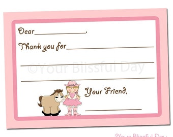 PRINTABLE Cowgirl Fill-in-the-Blank Thank You Cards #523
