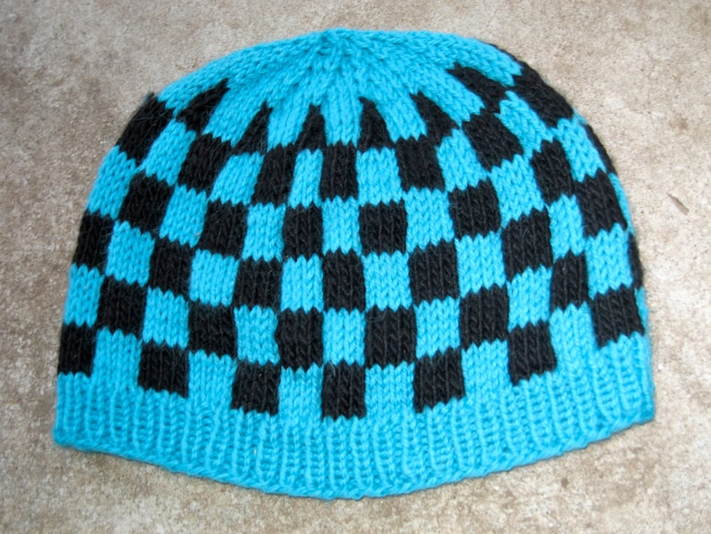 wool hat in turquoise and black check