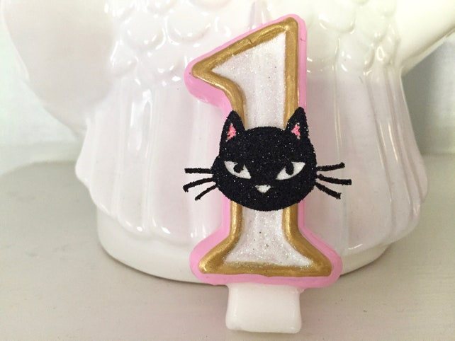 BIRTHDAY CANDLE Cat Party First Birthday White Gold Pink Cake Topper I Am One Candle Baby Kitty Kitten