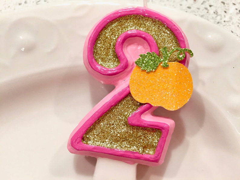 BIRTHDAY CANDLE Pumpkin First Birthday Pink Gold Cake