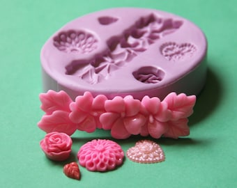 Silicone Flower Mold Fondant Border Mold Mum Heart Leaf Rose Fondant Silicone Mold Soap Embed Polymer Clay Resin Clay Flexible Molds