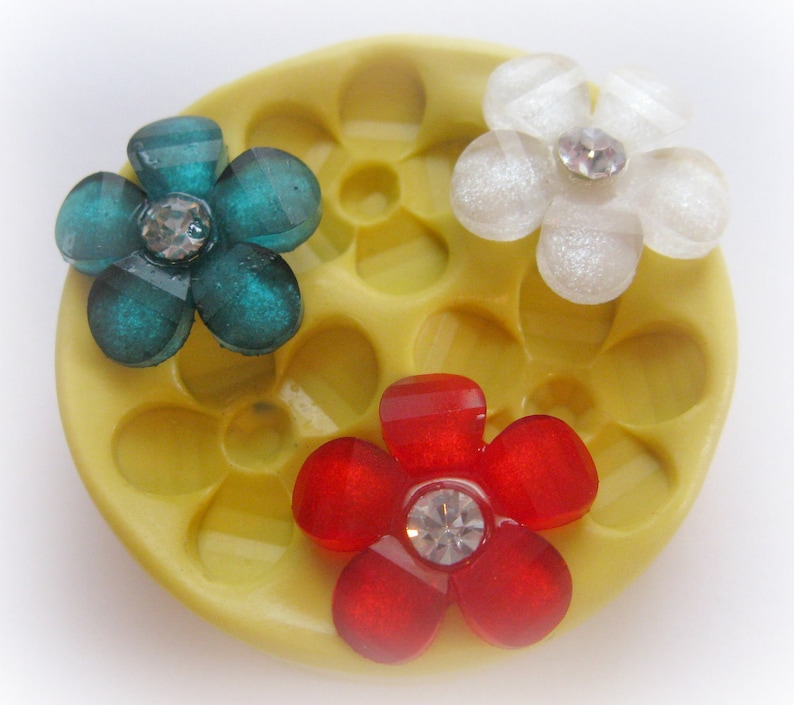 Faceted Flower Mold Mould Resin Clay Fondant Wax Soap image 0
