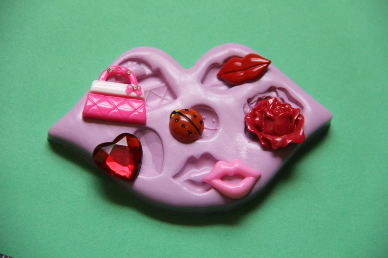 Silicone Purse Mold Lips Mold Heart Purse Ladybug Rose Silicone Molds Resin Polymer Clay Fondant Clay Molds Fondant Chocolate Molds