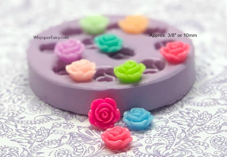 Silicone Tiny Rose Mold 10mm Flower Molds Resin Cabochon image 0