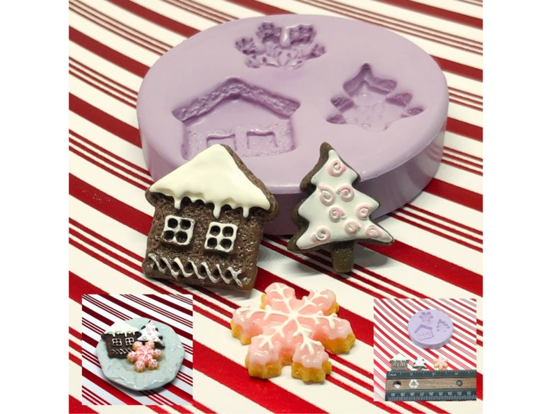 Christmas Cookie Molds Dollhouse Size Cookies Polymer Clay image 0