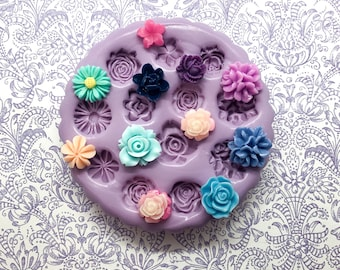Flower Cabochon Mold Silicone Flexible Resin Mold Polymer Clay Fondant Mold
