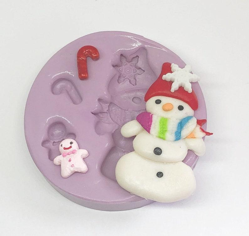 Snowman Mold Silicone Molds Christmas Snowman Cab Mold image 0