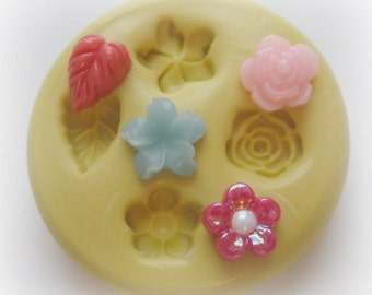 Tiny Flower Mold Leaf  Flowers Cabochon Mold Resin Clay Mould