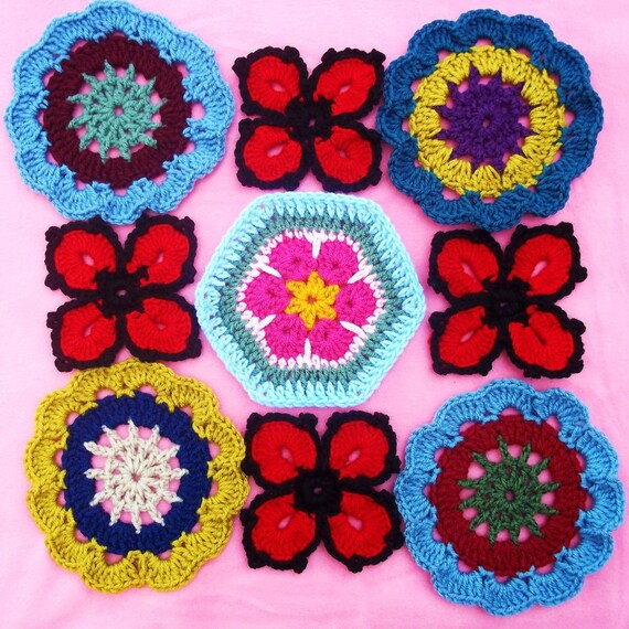 Japanische Blumen African Flower Und Vier Blume Häkeln Muster Etsy