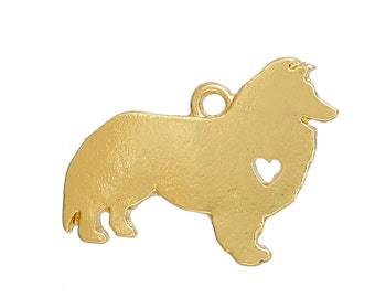 1 Gold Collie With Heart Cut Out Pendant Charm 20mm