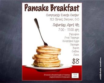 pancake breakfast community fundraiser flyer digital printable