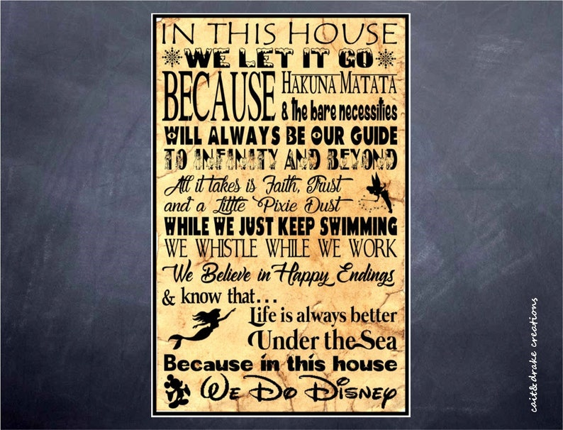 In This House Disney Silhouette Quote Poster Digital Print Etsy