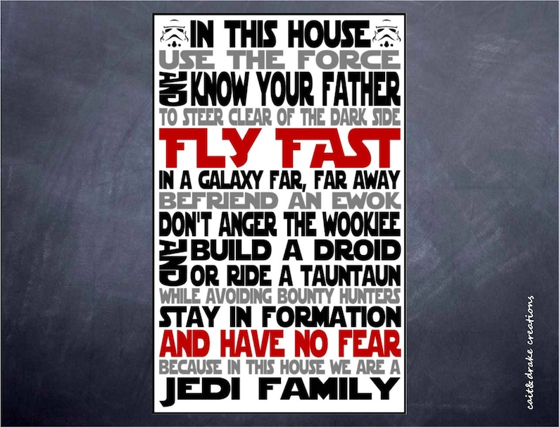 Jedi Family Star Wars In This House Quote Poster Digital Print Etsy