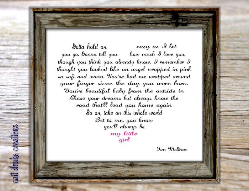 My little girl lyrics on picture frame