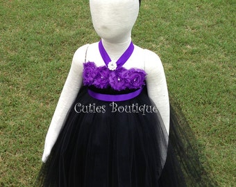 c0881bbba Black Tutu Dress With Purple Flowers Wedding Birthday Holiday Picture Prop  12, 18, 24 Month, 2T, 3T,4T Flower Girl Dress