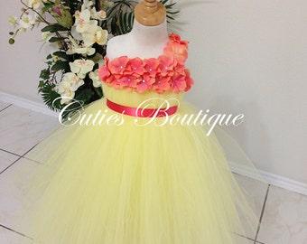 Yellow Tutu Dress With Coral Hydrangea Flower Dress Wedding Dress Birthday Picture Prop Yellow Flower Girl Dress