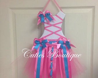 HotPinkTurquoise Tutu Dress Hair Bow Holder With Loops for Headbands--Perfect Gift For Birthday Baby Shower It's a Girl