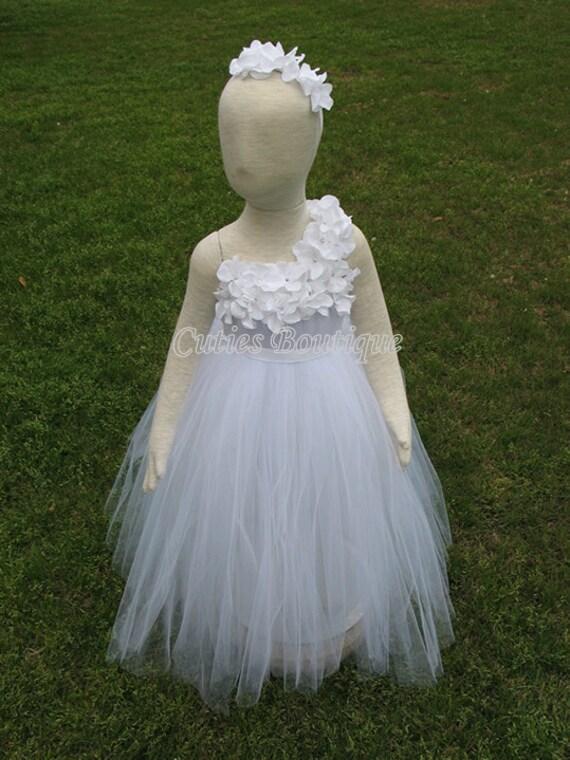 White flower girl tutu dress hydrangea flowers dress wedding etsy image 0 mightylinksfo