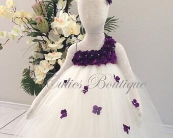Ivory Dress With Purple Hydrangea Flower Dress Wedding Dress Birthday Picture Prop Ivory Flower Girl Tutu Dress
