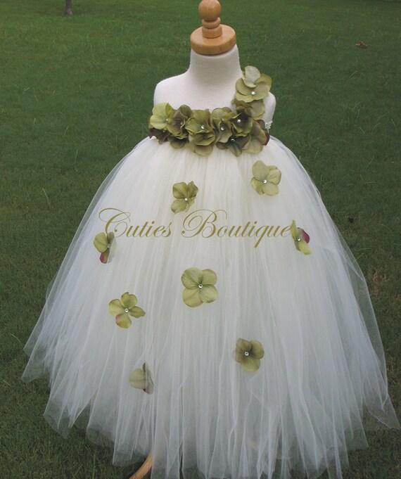 Ivory Dress With Moss Green Hydrangea Flower Dress Wedding   Etsy