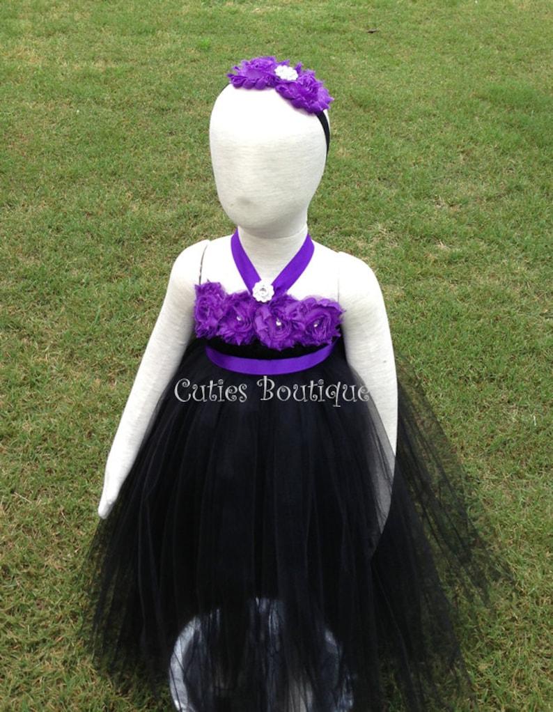 de010b31f Black Tutu Dress With Purple Flowers Wedding Birthday Holiday | Etsy