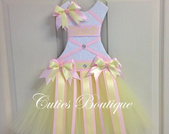Pink Yellow Tutu Dress Hair Bow Holder --Personalized Perfect Gift For Birthday Baby Shower It's a Girl