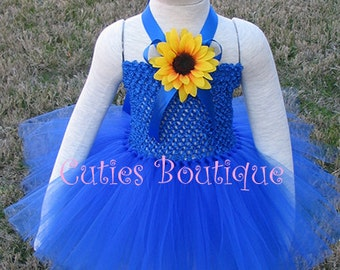 Royal Blue Dress With Sun Flower Baby Infant Toddler Tutu Dress -- All Sizes 3 6 9 12 18 24 Months 2T 3T-- Birthday, Photo, Holidays