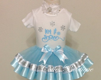 Let It Snow Christmas Birthday Outfit, Christmas Dress, Girl Dress, Holiday Dress --All Sizes