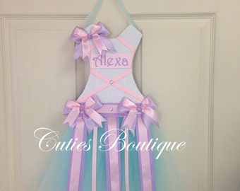 Pink Lavender Aqua Tutu Dress Hair Bow Holder--Personalized Perfect Gift For Birthday Baby Shower It's a Girl