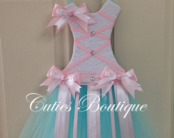 Aqua Pink Tutu Dress Hair Bow Holder Perfect Gift For Christmas Birthday Baby Shower It's a Girl