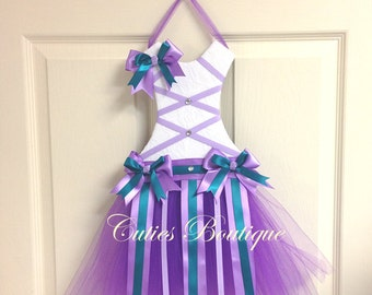 Purple Teal Tutu Dress Hair Bow Holder Perfect Gift For Birthday Christmas Baby Shower It's a Girl