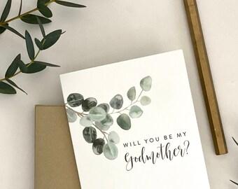 Will you be my Godmother? / Godmother card with eucalyptus leaves / Godmother card / baptism / christening / asking Godmother card