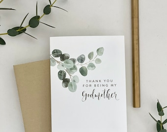 THANK YOU for being my Godmother / card with greenery / Godmother card / thank you Godmother / thanking godfather/ religious card